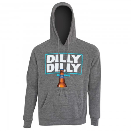 Bud Light Men's Dilly Dilly Grey Beer Pouch Hoodie