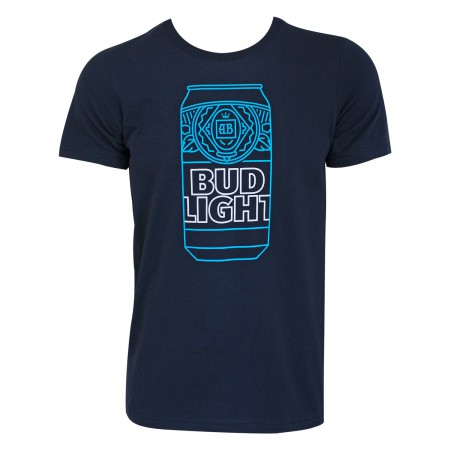 Bud Light Men's Navy Blue Neon Beer Can T-Shirt