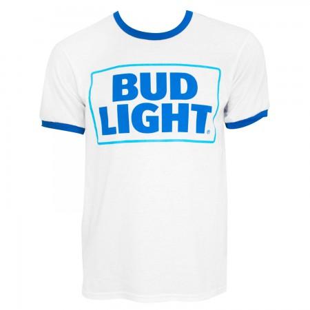 Bud Light Logo Men's White Ringer T-Shirt