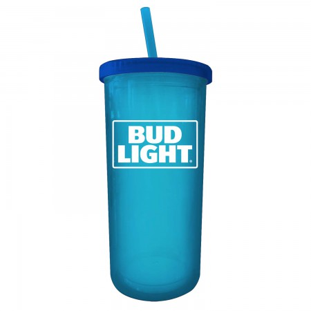 Bud Light 20 Oz Blue Travel Cup With Lid And Straw