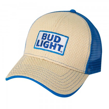 Bud Light Beige Straw Trucker Hat