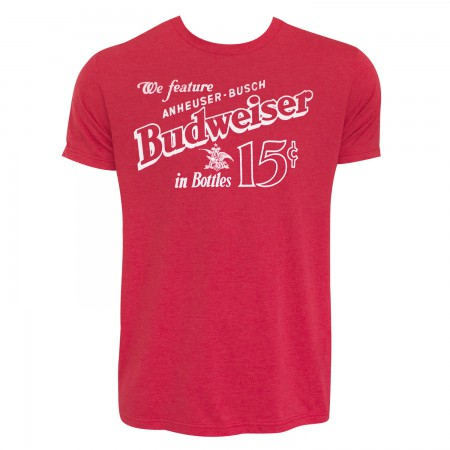 Budweiser Men's Red Old School T-Shirt