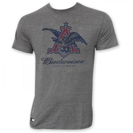 Budweiser Men's Gray Pop Top Bottle Opener Vintage Eagle Logo T-Shirt