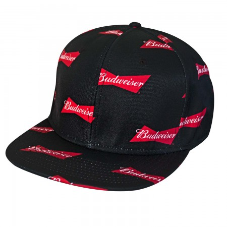 Budweiser Black All Over Bowtie Logo Snapback Hat