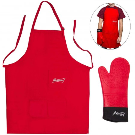 Budweiser Apron And Mitt Grilling Set
