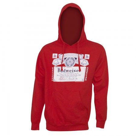 Budweiser Bottle Label Logo Red Hoodie