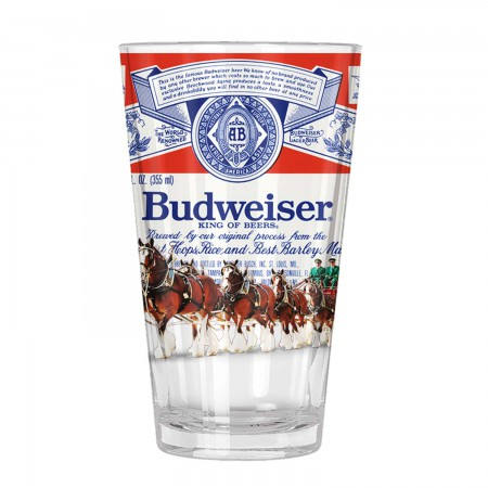 Budweiser Clydesdale Label Pint Glass