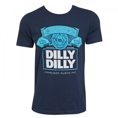 Bud Light Men's Navy Blue Dilly Dilly Box Logo T-Shirt