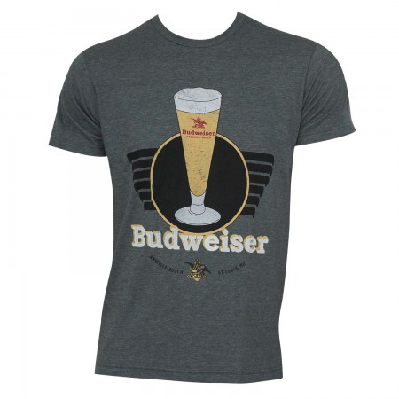 Budweiser Men's Grey Vintage T-Shirt