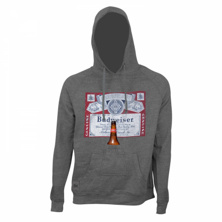 Budweiser Men's Grey Bottle Label Opener Beer Pouch Hoodie