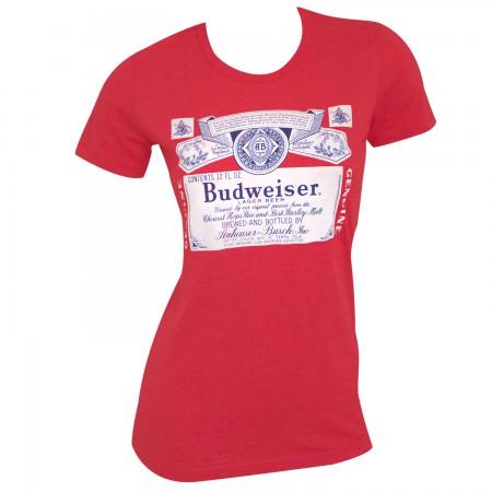 Budweiser Label Women's Red T-Shirt