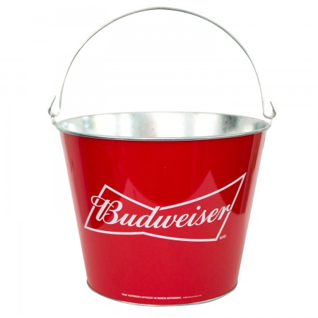 Budweiser Logo Red Metal Bucket