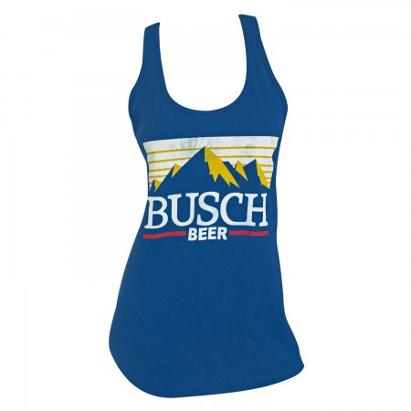 Busch Beer Mountain Logo Racerback Women's Blue Tank Top