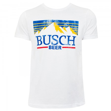 Busch Men's White Vintage Mountain Logo T-Shirt