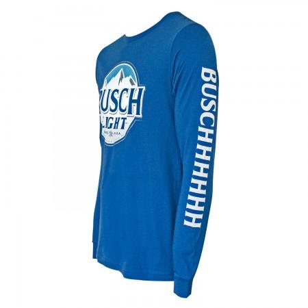 Busch Light Long Sleeve Blue Sleeve Print Tee Shirt