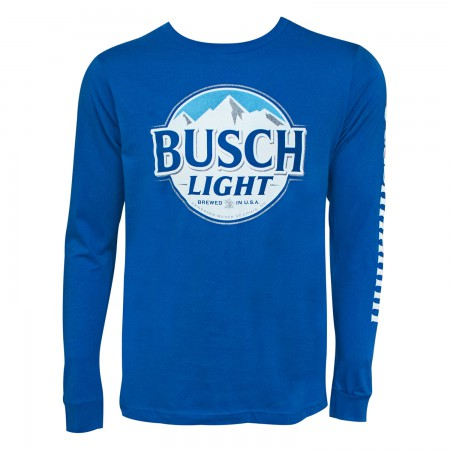 Busch Light Men's Blue Long Sleeve Buschhhhhh T-Shirt