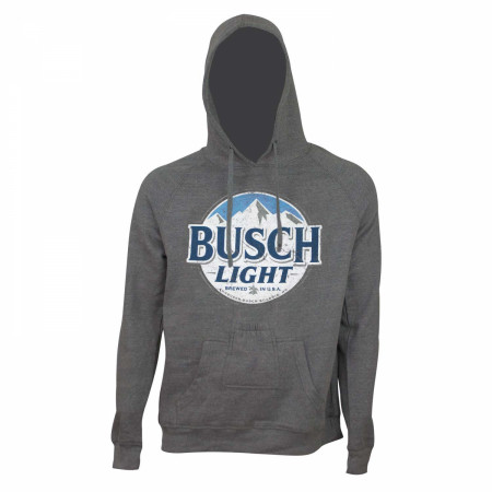 Busch Light Bottle Opener Men's Grey Round Logo Beer Pouch Hoodie
