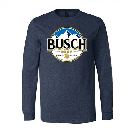 Busch Beer Round Logo Men's Long Sleeve Blue T-Shirt