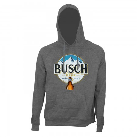 Busch Men's Grey Round Logo Beer Pouch Hoodie