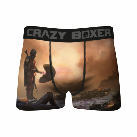 Star Wars Meeting The Child & Mandalorian Helmets All Over Print 2-Pack of Crazy Boxer Briefs