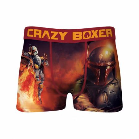 Star Wars Boba Fett Flying Through Fire Men's Crazy Boxer Briefs