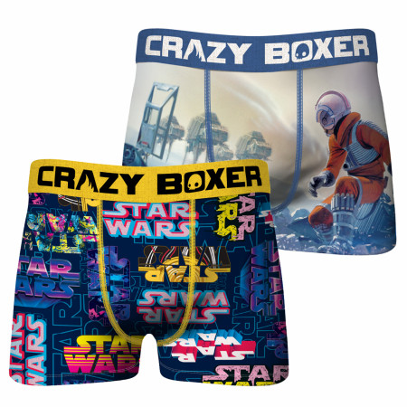Star Wars Luke on Hoth Scene & Neon Logos 2-Pack of Crazy Boxer Briefs