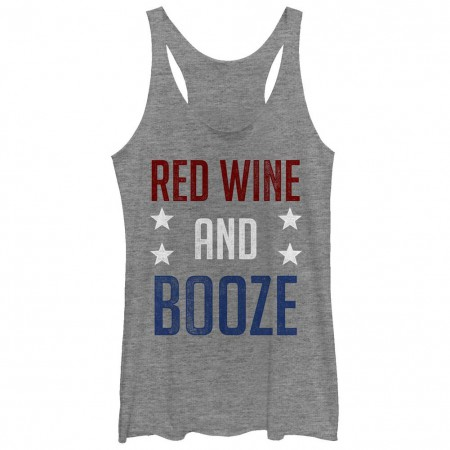 Red Wine And Booze Patriotic USA Juniors Gray Tank Top