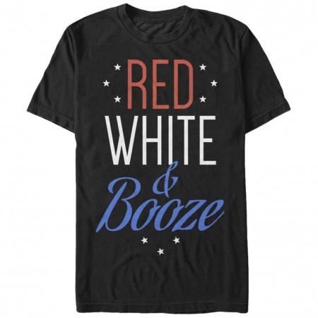 Patriotic USA American Red White & Booze Black T-Shirt