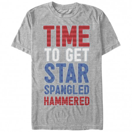 Time To Get Star Spangled Hammered Patriotic USA Grey T-Shirt