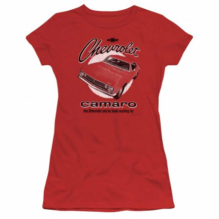 Chevy Retro Camaro Red Juniors T-Shirt