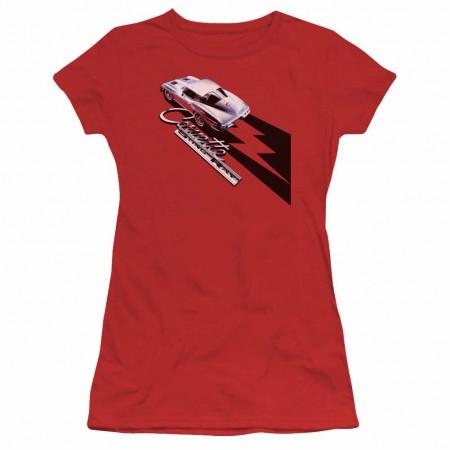 Chevy Split Window Sting Ray Red Juniors T-Shirt
