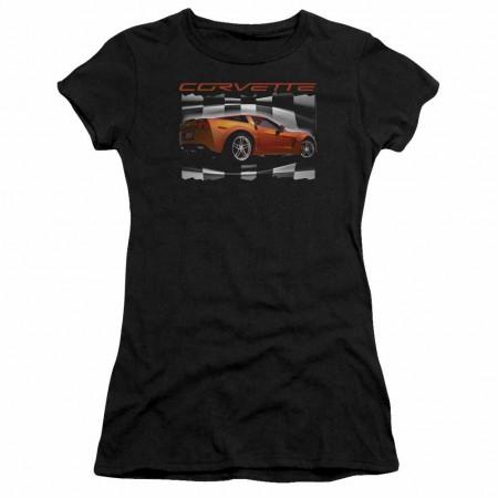 Chevy Orange Z06 Vette Black Juniors T-Shirt
