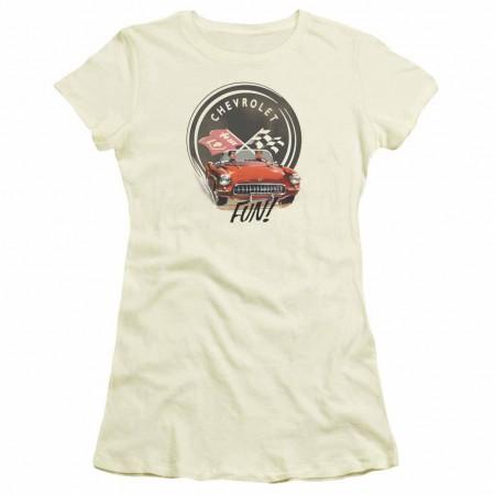 Chevy Vette Fun Beige Juniors T-Shirt