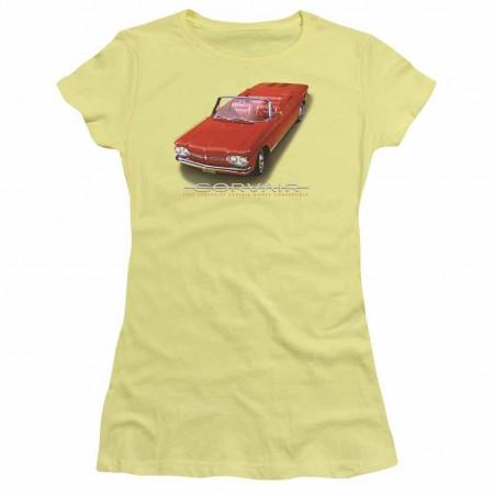Chevy 62 Corvair Convertible Yellow Juniors T-Shirt