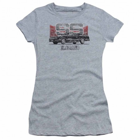 Chevy El Camino Ss Mountains Gray Juniors T-Shirt
