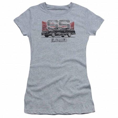 Chevy El Camino Ss Mountains Gray Juniors T-Shirt