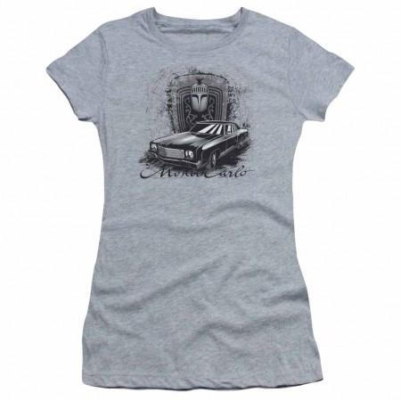 Chevy Monte Carlo Drawing Gray Juniors T-Shirt