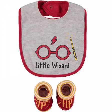 "Harry Potter ""Little Wizard"" 2 Piece Bib and Sock Set"