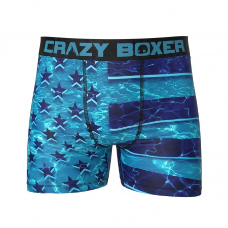 American Flag Swimming Underwater Boxer Briefs