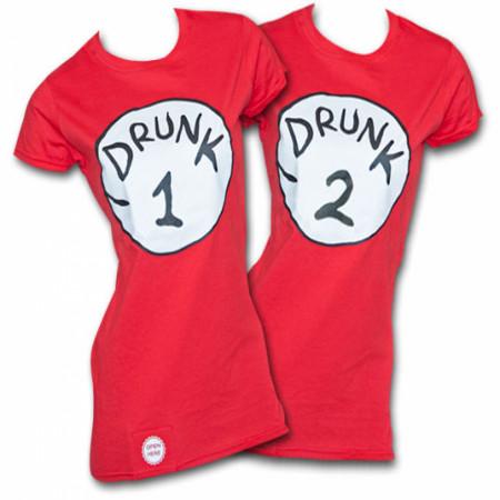 Drunk 2 Bottle Opener Juniors Red T-Shirt