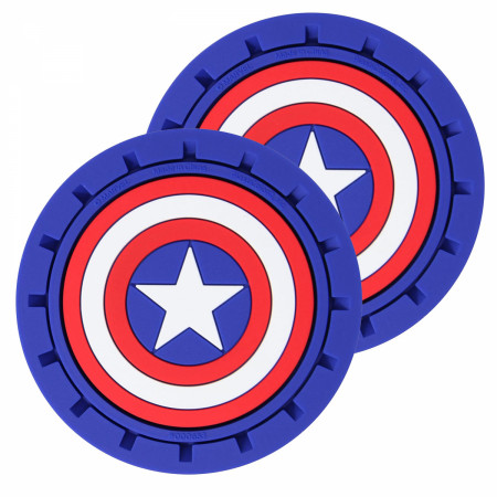 Captain America Shield Logo Car Cup Holder Coaster 2-Pack