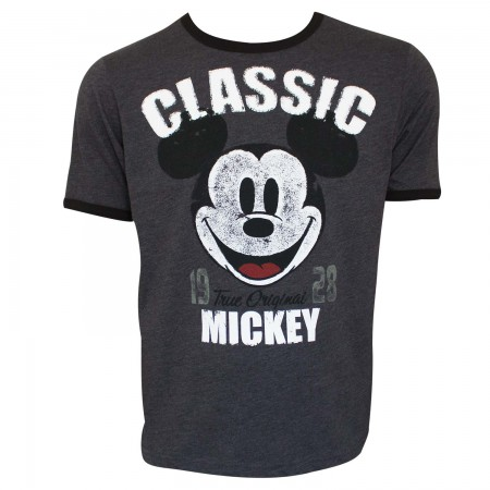 Mickey Mouse Men's Grey Classic Mickey Ringer T-Shirt