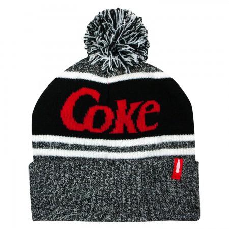 Coke Black And Gray Winter Pom Beanie