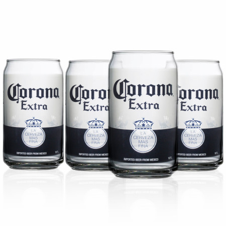 Corona Extra Can Design 4-Pack Pint Glass Set