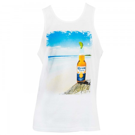 Corona Extra Beach Scene White Tank Top