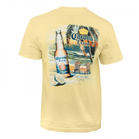 Corona Extra Men's Yellow Beach Scene T-Shirt
