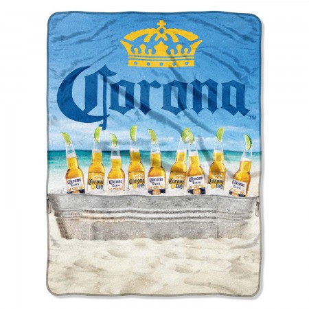 Corona Extra Beach Scene Plush Fleece Beach Blanket