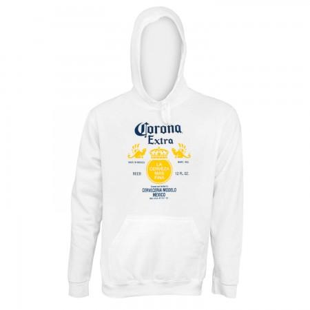 Corona Extra Bottle Label White Hoodie
