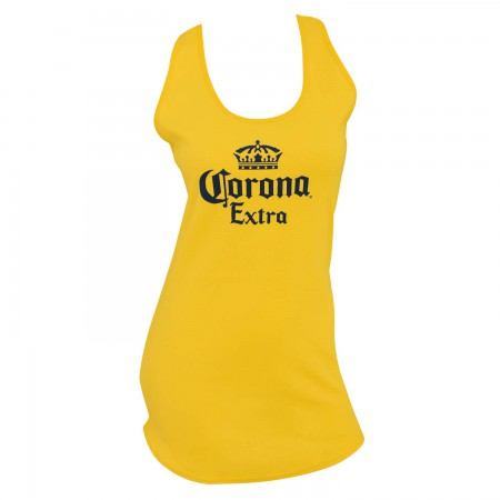 Corona Extra Logo Racerback Women's Long Yellow Tank Top