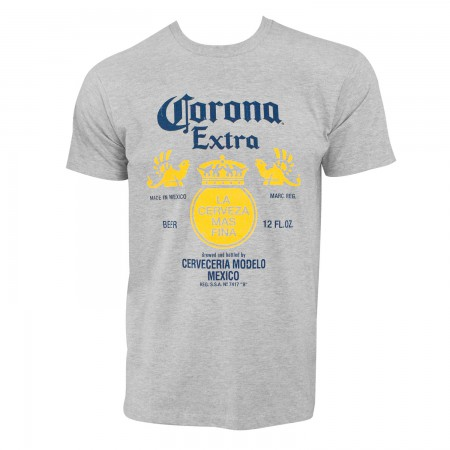 Corona Extra Bottle Label Grey Tshirt